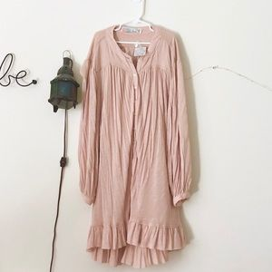 (NWT) Free People Ruffle Edge button up tunic